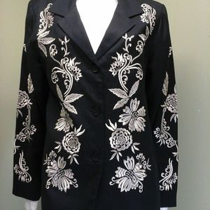 VICTOR COSTA Black Jacket Blazer Embroidered New